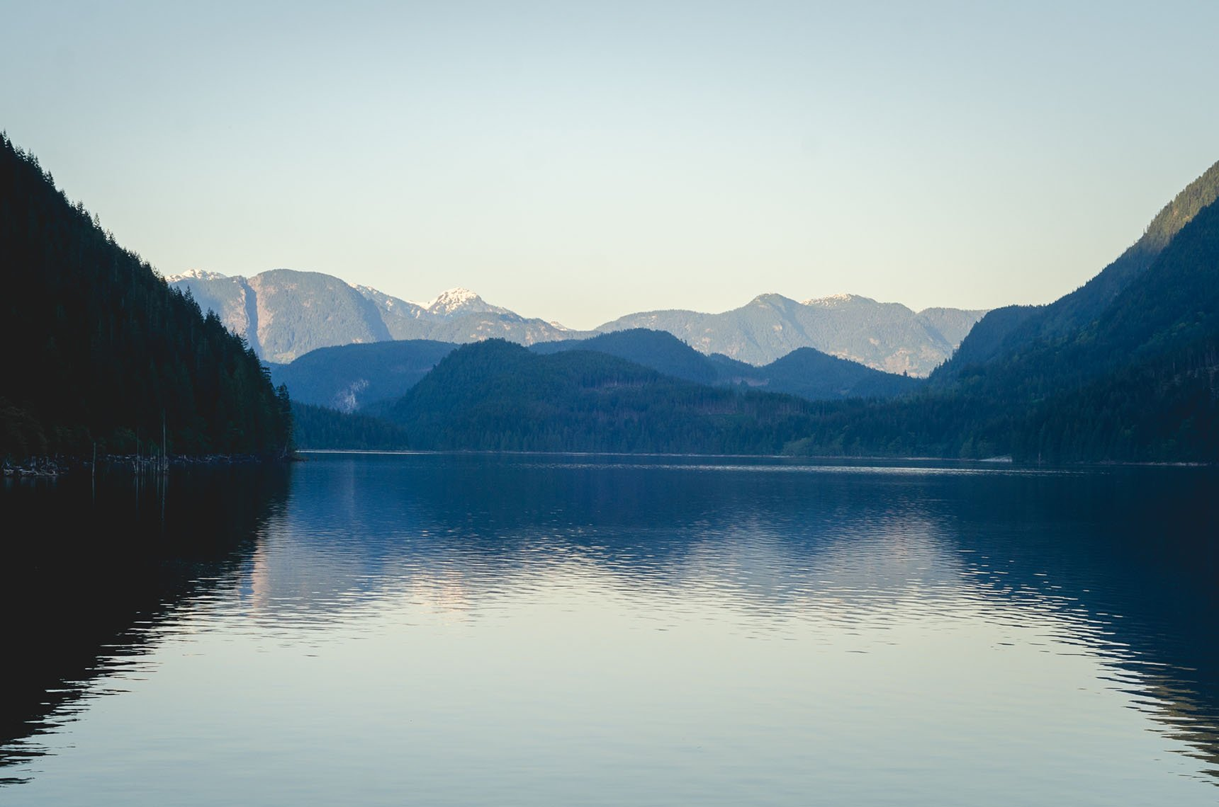 Alouette Lake after sunset.