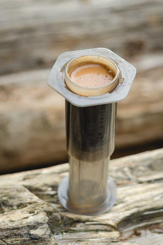 Morning coffee on the lake.