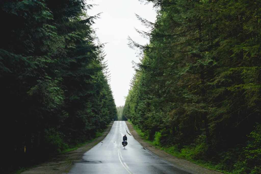 Riding into Golden Ears Provincial Park.