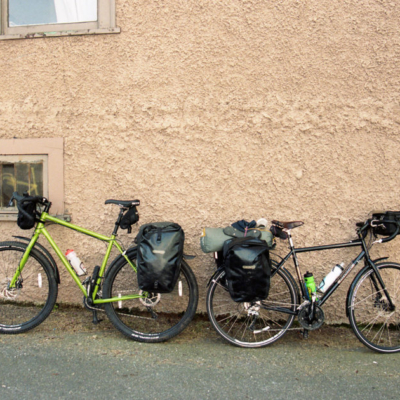 Gearing up our bikes in Vancouver.