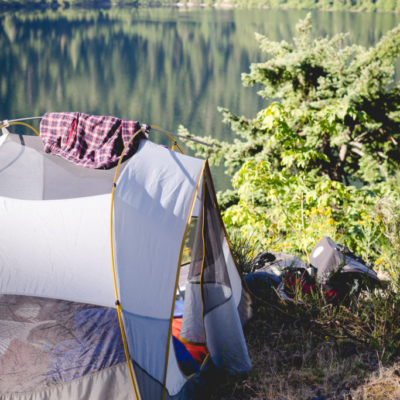 Camping out over Cameron Lake.